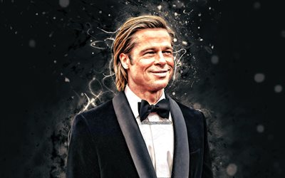 Brad Pitt, 2020, american actor, 4k, movie stars, fan art, William Bradley Pitt, american celebrity, white neon lights, creative, Brad Pitt 4K
