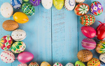 Easter eggs frames, 4k, Easter concepts, Easter eggs on wooden background, creative, background with Easter eggs, Easter