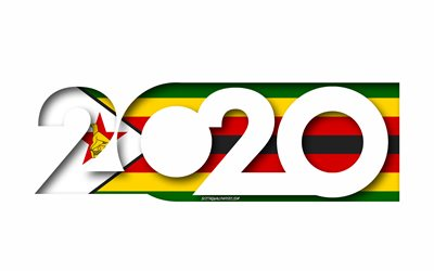 Zimbabwe 2020, Flag of Zimbabwe, white background, Zimbabwe, 3d art, 2020 concepts, Zimbabwe flag, 2020 New Year, 2020 Zimbabwe flag