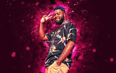 4k, Khalid, 2020, american singer, purple neon lights, music stars, Khalid Donnel Robinson, american celebrity, fan art, Khalid 4K
