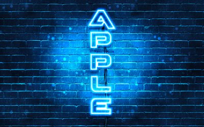 4K, Apple blue logo, vertical text, blue brickwall, Apple neon logo, creative, Apple logo, artwork, Apple
