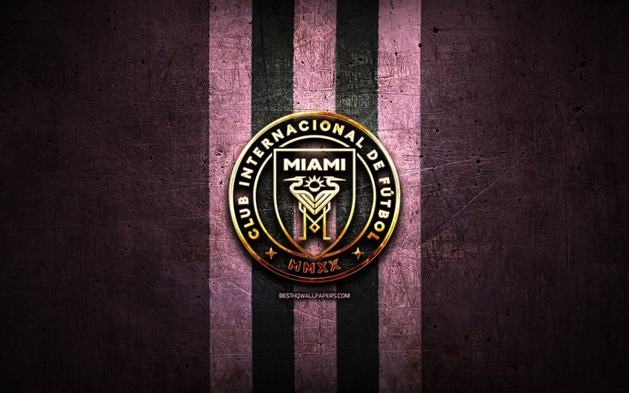 Inter Miami FC, golden logo, MLS, purple metal background, american soccer club, Inter Miami, United Soccer League, Inter Miami logo, soccer, America