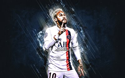 Neymar Jr, PSG, portrait, Paris Saint-Germain, white uniform PSG 2020, blue stone background, Ligue 1, France, Champions League, Neymar