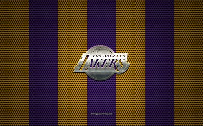 Los Angeles Lakers logo, American basketball club, metal emblem, purple-yellow metal mesh background, Los Angeles Lakers, NBA, Los Angeles, California, USA, basketball