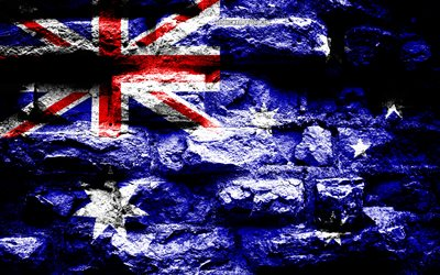 Australia flag, grunge brick texture, Flag of Australia, flag on brick wall, Australia, flags of Oceania countries