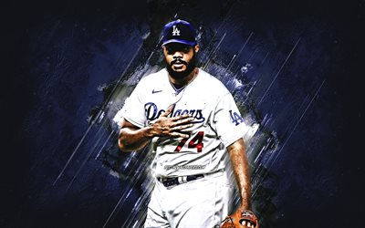 Kenley Jansen, Los Angeles Dodgers, MLB, dutch baseball player, blue stone background, baseball, Major League Baseball