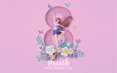 8 March, purple background, International Womens Day, 8 March greeting card, Happy Womens Day, 8 March congratulations