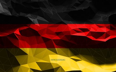 4k, German flag, low poly art, European countries, national symbols, Flag of Germany, 3D flags, Germany flag, Germany, Europe, Germany 3D flag