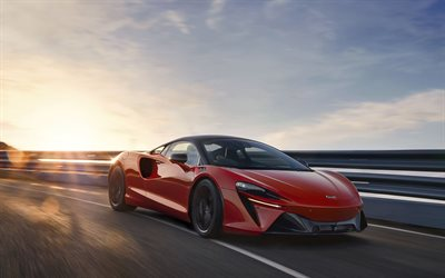 McLaren Artura, 2022, 4k, exterior, red sports coupe, new red Artura, electric supercar, British sports cars, electric cars, McLaren