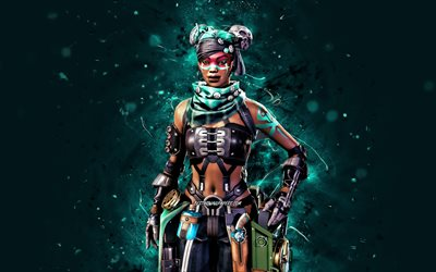 Pirate Queen Lifeline, 4k, blue neon lights, Apex Legends, Combat Medic, Apex Legends characters, Pirate Queen Lifeline Skin, Pirate Queen Lifeline Apex Legends