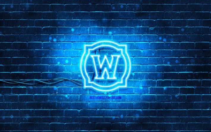 Logotipo azul do World of Warcraft, 4k, WoW, parede de tijolos azul, logotipo do World of Warcraft, criativo, logotipo do néon do World of Warcraft, logotipo do WoW, World of Warcraft
