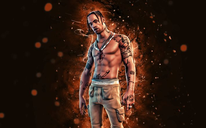 Travis Scott, 4k, brown neon lights, Fortnite Battle Royale, Fortnite characters, Travis Scott Skin, Fortnite, Travis Scott Fortnite