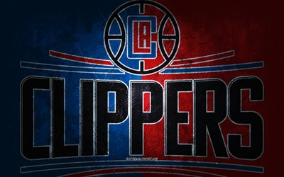 Los Angeles Clippers, American basketball team, blue red stone background, Los Angeles Clippers logo, grunge art, NBA, basketball, USA, Los Angeles Clippers emblem