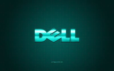 Dell logo, turquoise carbon background, Dell metal logo, Dell turquoise emblem, Dell, turquoise carbon texture