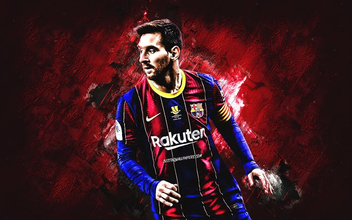 Lionel Messi, FC Barcelona, burgundy stone background, La Liga, Spain, Catalonia, football, world football star, Argentine soccer player