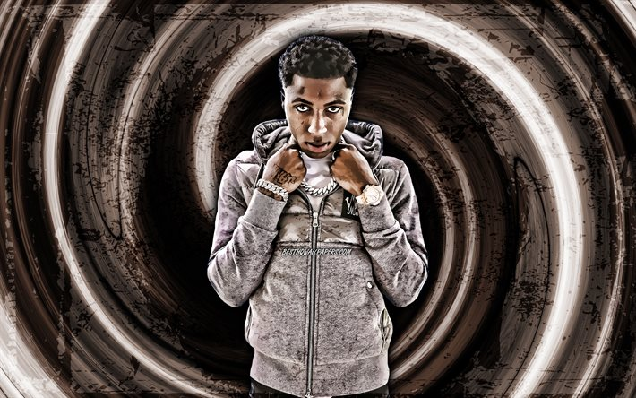 4k, YoungBoy Never Broke Again, brown grunge background, american singer, music stars, vortex, Kiari Kendrell Cephus, creative, YoungBoy Never Broke Again 4K