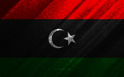Flag of Libya, multicolored abstraction, Libya mosaic flag, Libya, mosaic art, Libya flag