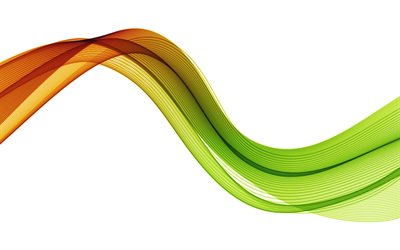 orange-green waves background, 4k, orange wave abstraction, orange-green abstract wave, orange-green wave on a white background, waves background, orange-green wave smoke