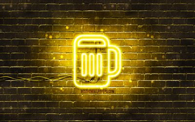 Beer neon icon, 4k, yellow background, neon symbols, Beer, creative, neon icons, Beer sign, drinks signs, Beer icon, drinks icons