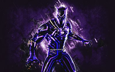 Fortnite Black Panther Kinetic Skin, Fortnite, main characters, purple stone background, Black Panther Kinetic, Fortnite skins, Black Panther Kinetic Skin, Black Panther Kinetic Fortnite, Fortnite characters