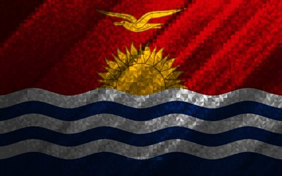 Flag of Kiribati, multicolored abstraction, Kiribati mosaic flag, Kiribati, mosaic art, Kiribati flag