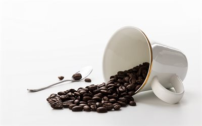 coffee beans, white cup with coffee beans, coffee concepts, coffee cup