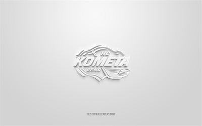 HC Kometa Brno, Czech ice hockey club, creative 3D logo, white background, Czech Extraliga, Brno, Czech Republic, 3d art, ice hockey, HC Kometa Brno 3d logo