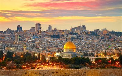 Jerusalem, Dome of the Rock, sunset, evening city, Middle East, Palestine, cityscapes