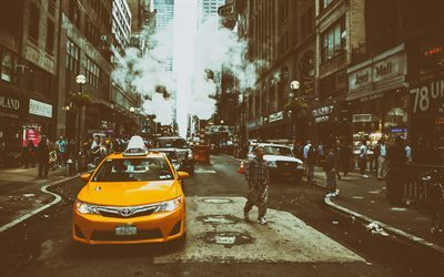 NYC, street, New York, yellow taxi, Midtown, Manhattan, Amarica, USA