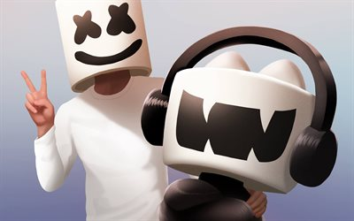 DJ Marshmello, 3d art, American DJ, white hat, Chris Comstock, marshmello