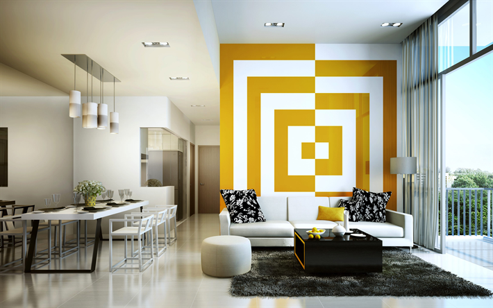 Download wallpapers living room, 4k, stylish interior, canteen ...