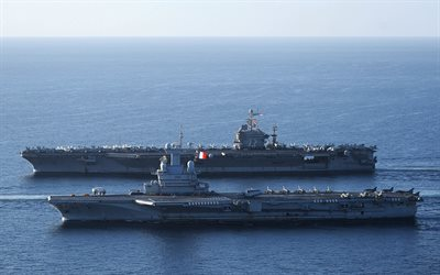 USS Abraham Lincoln, CVN-72, Charles de Gaulle, R91, aircraft carriers, warships, French Navy, US Navy, Marine Nationale