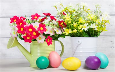 Easter eggs, watering can for flowers, spring flowers, Easter, decoration, paper flowers