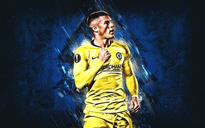 Ross Barkley, English football player, midfielder, Chelsea FC, yellow uniform, Premier League, England, football, art