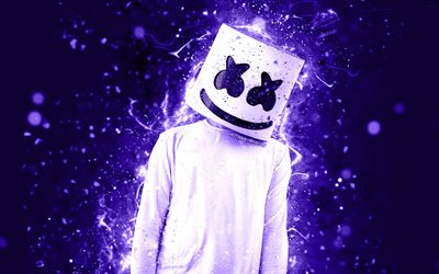 DJ Marshmello, 4k, violet foncé neon, le DJ américain, Christopher Comstock, Marshmello 4K, des illustrations, des superstars, fan art, DJs