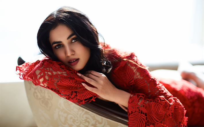 b38c54bd02 Sonal Chauhan, 4k, indian actress, red dress, Bollywood, beauty, brunette