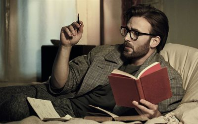 Chris Evans, American actor, man writes a diary, photoshoot