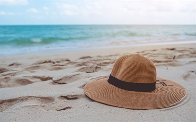 summer hat, beach, sand, sea, travel concepts, hat in the sand, beach accessories