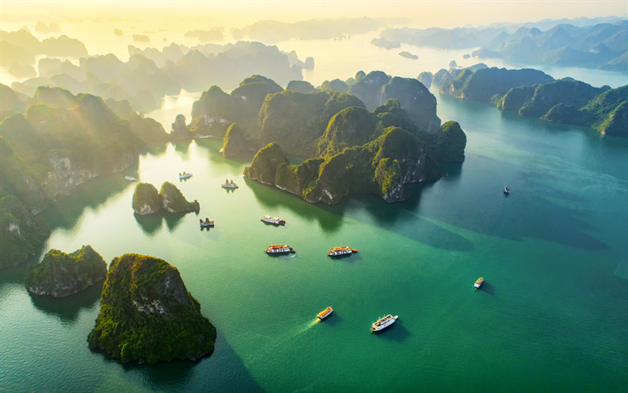 tropical islands, Vietnam, ocean, sunset, evening, ships, beautiful landscape
