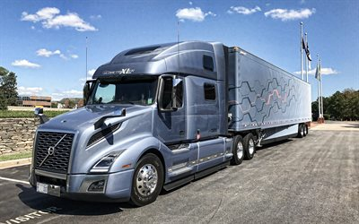 Volvo VNL, 2019, exterior, front view, truck with trailer, new VNL760, swedish truck, USA, Volvo
