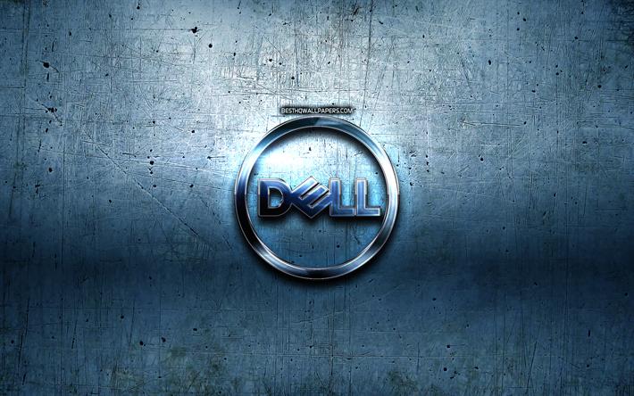 Indir Duvar Kağıdı Dell Logosu Mavi Metal Arka Plan Yaratıcı Dell