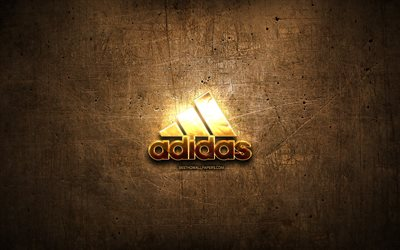 Adidas golden logo, artwork, brown metal background, creative, Adidas logo, brands, Adidas