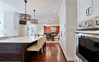 classic kitchen interior design, stylish interior, dining room, kitchen, English style