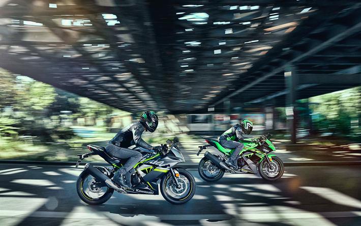 скачать обои 4k Kawasaki Ninja 125 Street Race 2019 Bikes
