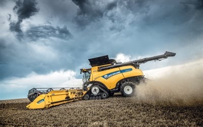 New Holland CR Revelation, 2019, CR10 90, combine harvester, wheat field, agricultural equipment, harvesting, harvester with tracks, New Holland