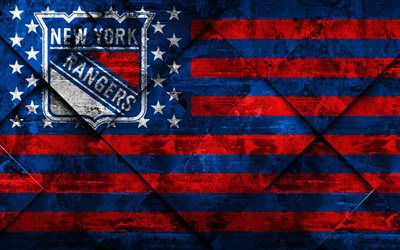 New York Rangers, 4k, American hockey club, grunge art, rhombus grunge texture, American flag, NHL, New York, USA, National Hockey League, USA flag, hockey