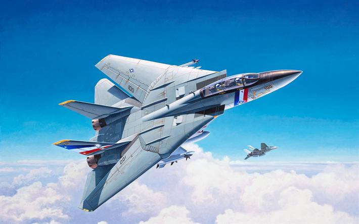 Download wallpapers Grumman F-14 Tomcat, American jet fighter, F-14
