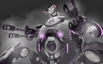 Wrecking Ball, darkness, Overwatch characters, robots, 2019 games, shooter, Overwatch, Wrecking Ball Overwatch