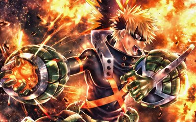 Anger Katsuki Bakugou, fire, Boku no Hero Academia, warrior, battle, manga, Katsuki Bakugou, My Hero Academia, artwork