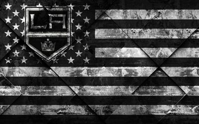 Los Angeles Kings, 4k, American hockey club, grunge art, rhombus grunge texture, American flag, NHL, Los Angeles, California, USA, National Hockey League, USA flag, hockey